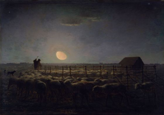 Millet, Jean-Francois: The Sheepfold, Moonlight. Fine Art Print/Poster. Sizes: A4/A3/A2/A1 (004130)